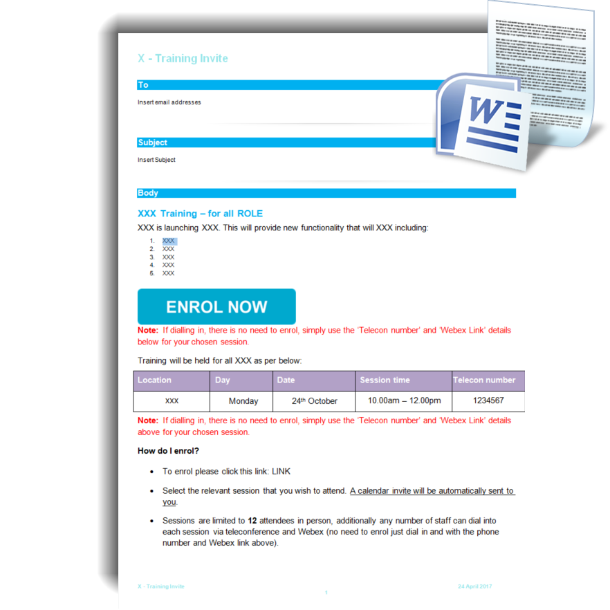 Training Invite Email – Training Template